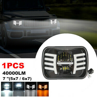 $57.71 • Buy 7x6  5x7  LED Square Headlight DRL Turn Signal Day Projector Hi/Low Beam 40000LM