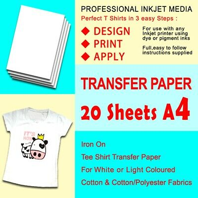 AU16.79 • Buy A4 White Light-Colored Iron-On Heat T-Shirt Transfer Paper DIY Pack Of 20