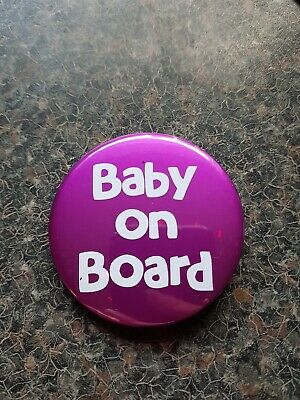 Baby On Board Purple Foiled Pregnancy Badge. Pregnant Baby Button Pin 58mm • 2£