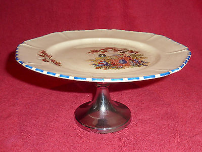 Art Deco Porcelain Cake Stand Coronet Ware Parrot & Co With Metal Base 1930's • 15.99£