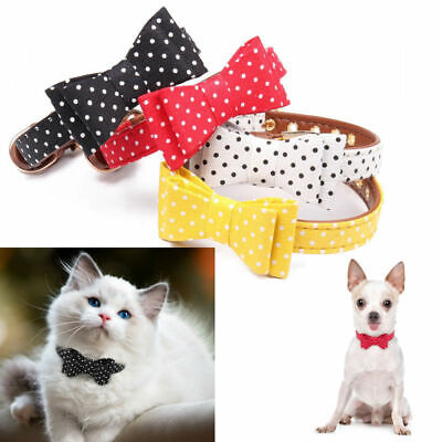 Dog Collar Bow Tie BowKnot Polka Padded Adjustable Pet Puppy Cat Collars Yorkie • 4.99£