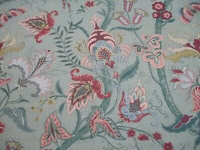 Wesley Barrell Curtain/Uph Fabric 'TREE OF LIFE' 3.5 METRES Duck Egg Linen Twill • 74.99£