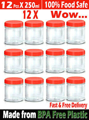 £9.80 • Buy 12 X 250ml Plastic Storage Jars Containers Canisters Pots Screw Top Food Grade