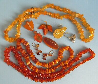 $ CDN129.99 • Buy Lot Of Vintage Baltic Amber Necklaces, Brooches, Ear Rings.