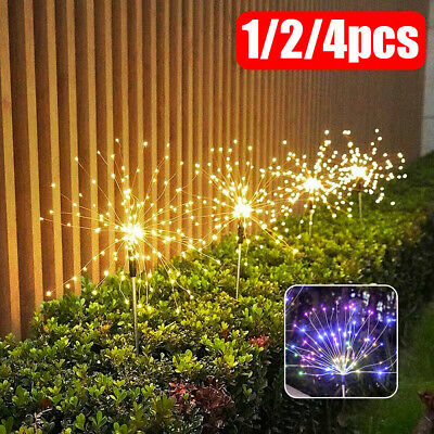 120 LED Solar Powered Firework Starburst Stake Light Warm White Garden Outdoor • 8.29£