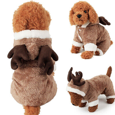Christmas Pet Reindeer Outfit Xmas Dog Cat Coat Puppy Costume Hoodie Clothes • 6.50£