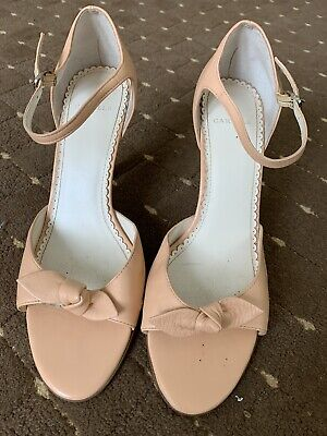 Carvela Peach Leather Strappy Sandals , Stiletto Heel, Bow On Front Size 6 • 2£