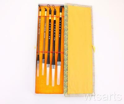Delux Five Chinese Calligraphy Brushes In Box Set. Art And Painting Sumi - E • 12.99£