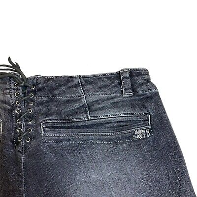 """Vintage Y2k 90s 00s Miss Sixty Sexy Washed Grey Lace Up Skinny Jeans Size 6 W26"""" • 25£"""
