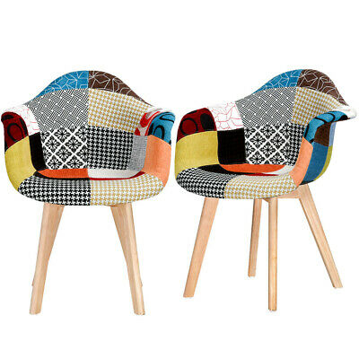 £99.99 • Buy 2 PCS Retro Patchwork Fabric Dining Chairs Padded Seat Solid Wood Legs Armchair