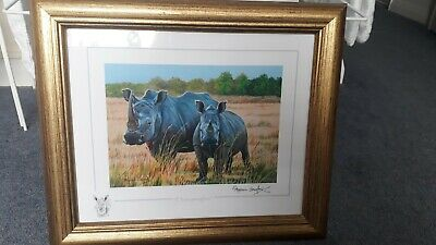 Stephen Gayford Framed Original Print - 'Heavyweights', Rhinos • 25£