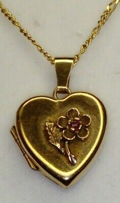 Uk Hallmarked 9ct Yellow Gold Natural Ruby Heart Locket Pendant 18  Necklace • 79£