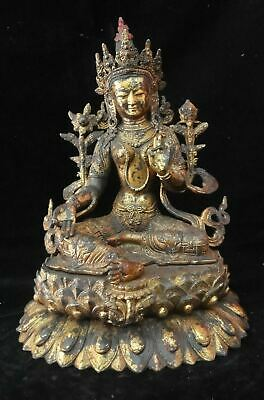 34cm Very Large Antique Chinese Bronze Tibetan  GuanYin  Buddha Statue • 489£