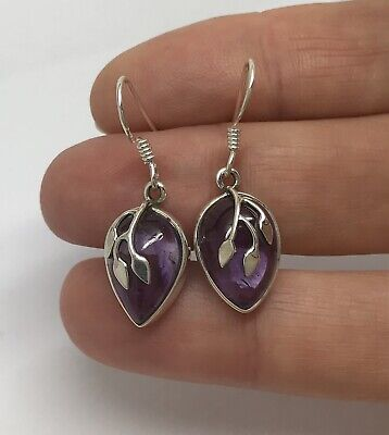 Amethyst Drop Earrings, Solid Sterling Silver, Pear, Branch Design. • 36£