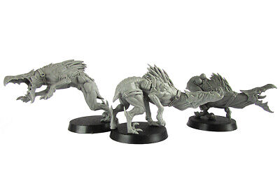 Kroot Hounds X 3 Resin Proxy Alternative Tau Miniatures Spined Hounds OOP • 18.50£