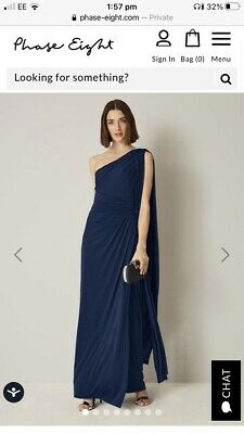 Phase Eight Gorgeous One Shoulder Navy Grecian Gown  Brand New With Tags • 24.99£