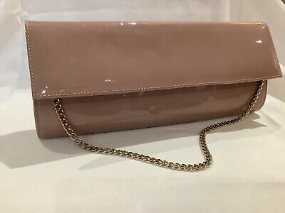 Russell & Bromley Rose Mink Patent Leather Clutch Bag With Gold Gilt Chain Strap • 85£