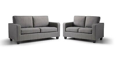 £499 • Buy Max Grey Fabric Compact Sofa 3 And 2 Seater - Free Next Day Delivery