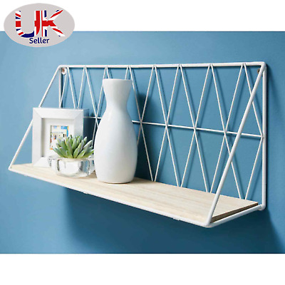 £13.98 • Buy 48cm Shelf Metal Wire Wall Floating Shelves Storage Decoration Fully Assembled