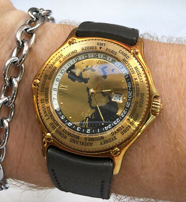 Gents Ebel Voyager 18K Solid Gold Made For Sultan Of Oman Unique Arab Gulf Dial • 6,475£