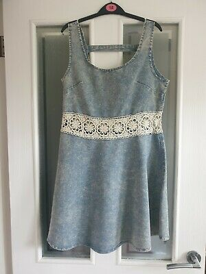 Hearts And Bows Ladies Stonewash Denim Dress Size 8 • 5£