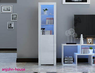 High Gloss LED Lights Display Cabinet Cupboard Sideboard Shelves Case White Unit • 89£