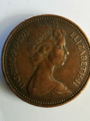 RARE 1p 1971 NEW PENCE  One Penny Coin UK Good Condition • 36£