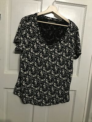 Peacocks Top Size 16 Scoop Neck Floral Print Black And White Cotton • 3.50£