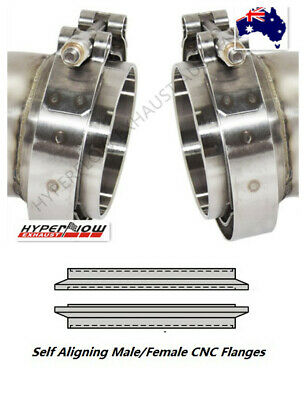 AU35.60 • Buy 3.5  (88.9MM) V-Band Clamp+Self Aligning M/F CNC Flange Kit Turbo Exhaust AU