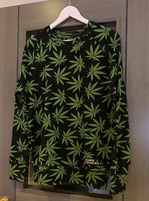 Elvnprs Hemp Marajuna Weed Leaf Sweatshirt Size Small Black Green Wiz Khalifa • 14.99£