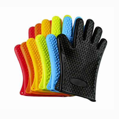 £4.99 • Buy Silicone Oven Glove 1 Or Pair Heat Proof BBQ Gloves Non Slip UK SELLER