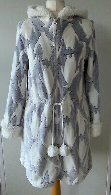 (3841) M&S Fluffy Hooded Zip Front Dressing Gown - Size 8/10 • 6.42£
