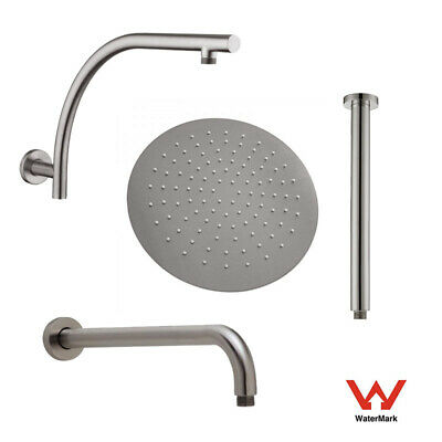 AU66 • Buy Brushed Nickel Round 10  250mm Stainless Steel Shower Head Ceiling Wall Arm Set