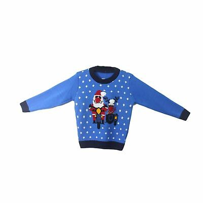 Boys Blue Novalty Xmas Santa And Rudolph On Bike Knitted Christmas Jumper 4-11 • 8.99£