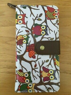 Women's Ladies Girls Large Purse Wallet Pale Pink Brown Owl Oilcloth **NEW** • 4.99£
