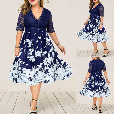 £20.69 • Buy Plus Size Women Lace Floral Dress Ladies Evening Cocktail Formal Party Ball Gown