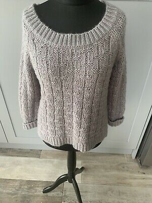 Poetry Grey Chunky Knit Slouchy Over Sized Jumper Cotton Mohair Size Small • 14.99£