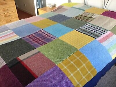 Patchwork Pure New Wool Welsh Made Large Blanket Throw Bedspread • 90£
