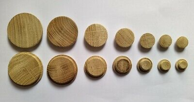 £2.99 • Buy SOLID WOOD Oak Flat Cover Caps For 10 12 15 20 25 35 40 HOLE Plug Wooden Low