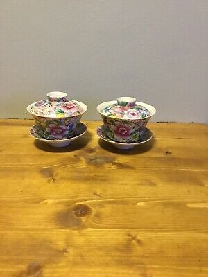 2 Chinese 19th Or Early 20 Th C Millefiori Bowl Lids And Saucers • 11.50£
