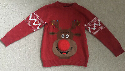 Boys Next Christmas Jumper Age 7 Red Rudolph • 0.99£