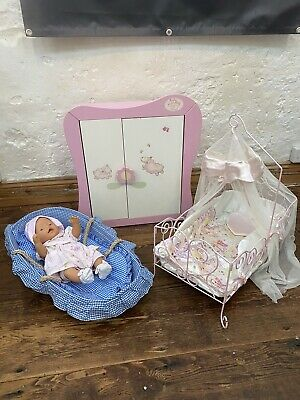 Baby Annabell Dolls Wardrobe, Cot And Moses Basket Bundle. • 25£
