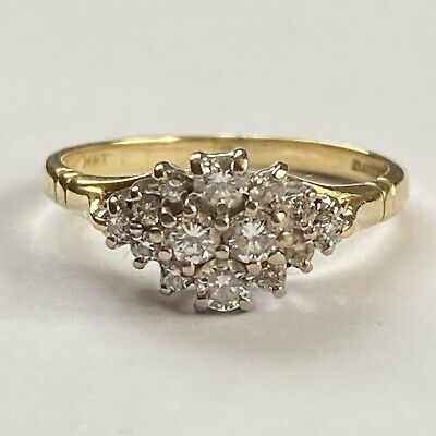 Vintage 18ct Yellow Gold Diamond 0.5 Carat Cluster Ring Size P • 395£