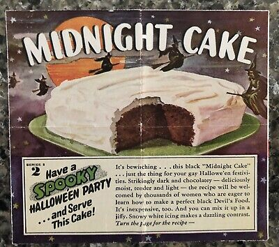 $ CDN19.45 • Buy Original, Vintage 1940's Halloween Midnight Cake Recipe Booklet Flying Witches