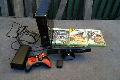 AU50 • Buy Xbox 360S Console With 3 Games  250 Gb With Controller & Kinect Sensor