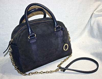 AU30 • Buy RRP$595 OROTON Navy Suede+Leather Crossbody/Tote/Handbag/Alpine Chain Barrel Bag