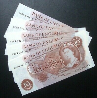 1960's TEN SHILLING NOTES X 5 • 8.50£