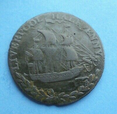 1794 Liverpool Halfpenny Token, TO CLEAR BLACK FRIDAY, As Shown. • 8.50£