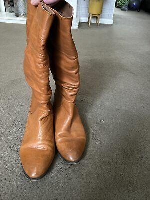 Tan Leather Boots OFFICE Slouch Size 7/41  • 8.50£