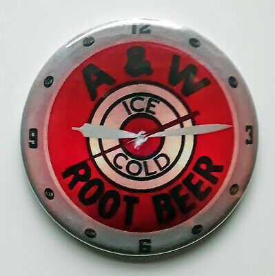 A & W Root Beer Stand Clock Fridge Magnet • 2.25£